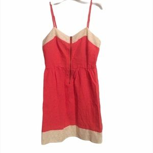 Anthropologie Coral Linen Eyelet Zip Dress XS